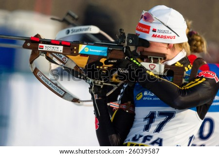 UFA, RUSSIA - FEBRUARY 2 : An unidentified participant in action at Biathlon Open European Championship in Bashkortostan, Ufa, Russia February 2, 2009.