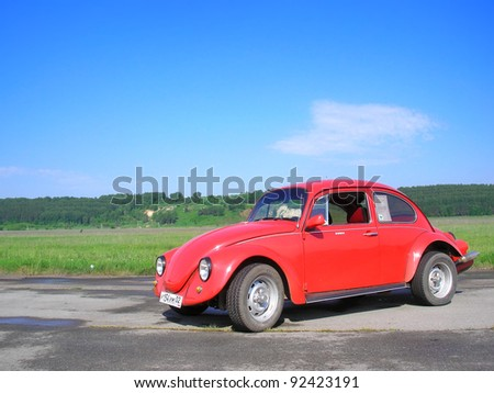 "UFA, RUSSIA - JULY 10: Classic German motor car Volkswagen Beetle exhibited at the annual Motor show ""Maximovka"" on July 10, 2006 in Ufa, Bashkortostan, Russia."
