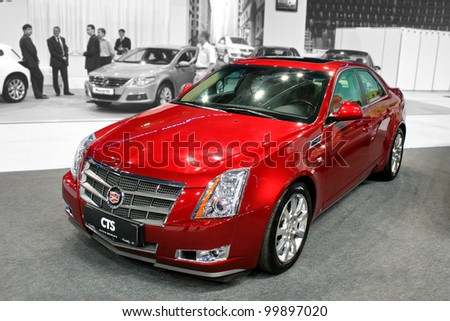 "UFA, RUSSIA - JUNE 10: American motor car Cadillac CTS on display at the annual Motor show ""Autosalon"" on June 10, 2009 in Ufa, Bashkortostan, Russia."