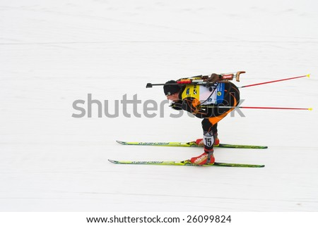 UFA, RUSSIA - MARCH 3: Anev Krasimir (15) in action at BIATHLON OPEN EUROPEAN CHAMPIONSHIP in Bashkortostan, Ufa, Russia March 3, 2009.