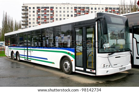 "UFA, RUSSIA - MAY 11: City bus NEFAZ 52998 (VDL Transit) exhibited at the annual Motor show ""Autosalon"" on May 11, 2011 in Ufa, Bashkortostan, Russia."