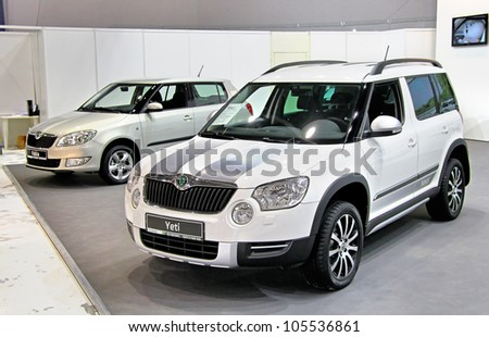 "UFA, RUSSIA - MAY 15: Czech motor car Skoda Yeti on display at the annual Motor show ""Autosalon"" on May 15, 2012 in Ufa, Bashkortostan, Russia. - stock photo"