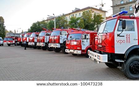 UFA, RUSSIA - SEPTEMBER 10: Modern KamAZ fire trucks exhibited at the annual motor show \