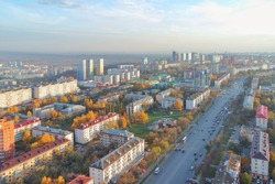 Ufa . Top view of houses, streets, Avenue with cars. Ufa, Russia.Bird's-eye view.