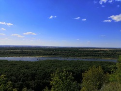 Ufa. View from the observation deck of Victory park on the Belaya river and Alekseevka.