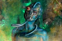UFO Alien Girl With Unusual BodyArt with Latex MakeUp