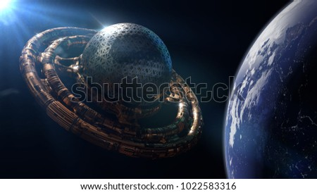 UFO, alien spaceship in orbit of planet Earth, extraterrestrial visitors in flying saucer (3d science fiction rendering, elements of this image are furnished by NASA)