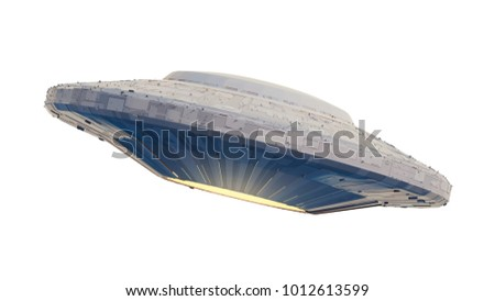 UFO, alien spaceship with extraterrestrial visitors, flying saucer (3d space illustration isolated on white background)