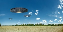 UFO, an alien plate hovering over the field, hovering motionless in the air. Unidentified flying object, alien invasion, extraterrestrial life, space travel, humanoid spaceship mixed medium