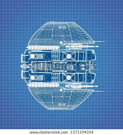 ufo blueprint. This ufo blueprint will put some action feeling at yours aliens creations. 3d illustration