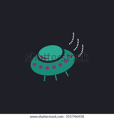 UFO. Color flat icon on black background
