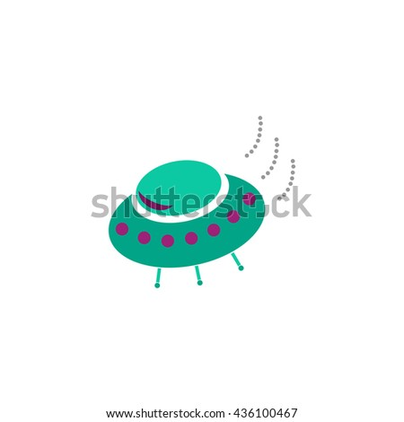 UFO. Color simple flat icon on white background