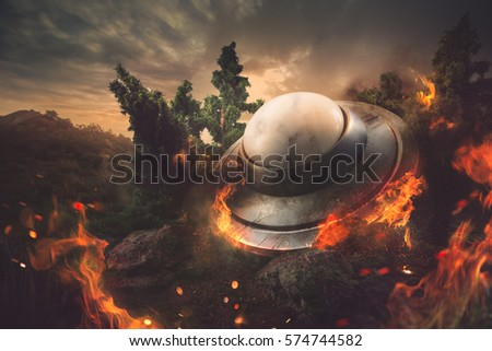 UFO crash in the forest