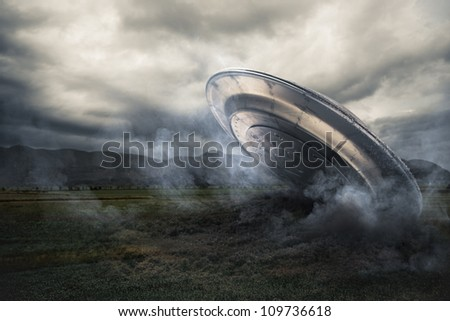 UFO crash on a field with smoke
