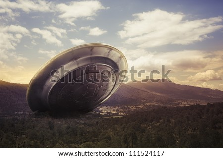 UFO crash on a valley
