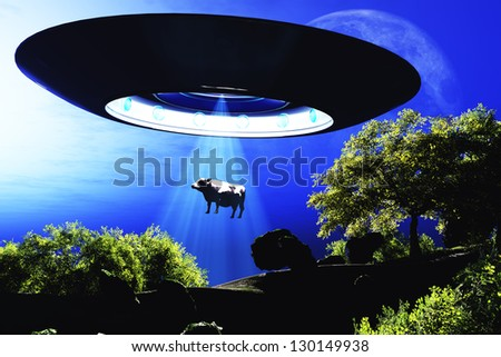 Ufo Flying on Earth at Night over Field