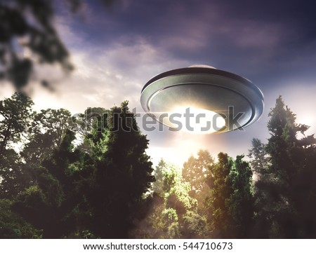 UFO hovering over a forest at dusk with dramatic lighting