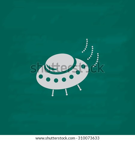 UFO.  Icon. Imitation draw with white chalk on green chalkboard. Flat Pictogram and School board background. Illustration symbol