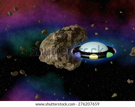 Stock Photo UFO in outerspace with asteroid