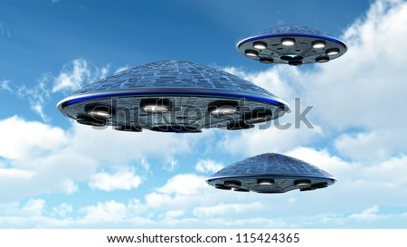 UFO in the sky with clipping path