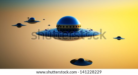 UFO Invasion - a group of UFOs gather over an evening sky ready for an invasion of Earth. - stock photo