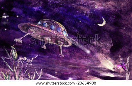 UFO landing or flying up from earth