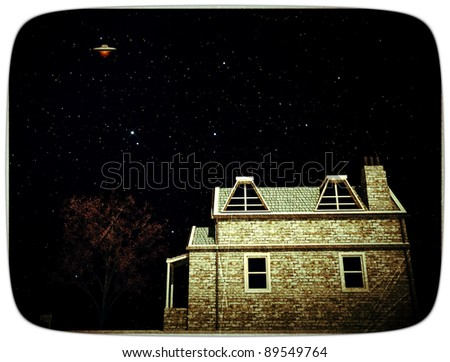ufo over a country house