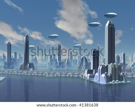 UFO over Futuristic Alien City