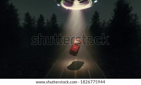UFO red car Countryside landscape night 3d rendering Foto stock ©