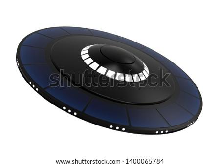UFO spacecraft. Alien Space Ship. 3D Illustration.