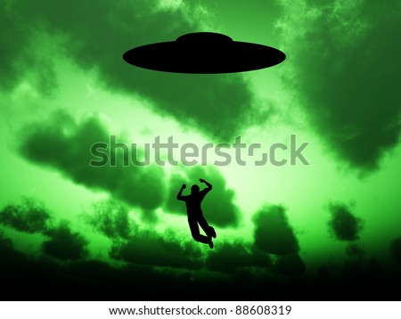 UFO that is abducting a person.