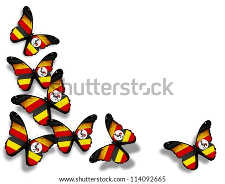Uganda flag butterflies, isolated on white background