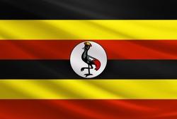 Uganda flag with fabric texture
