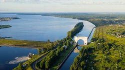 Uglich, Russia. Uglich Pound Lock. Gateway Volga river. Early morning, Aerial View