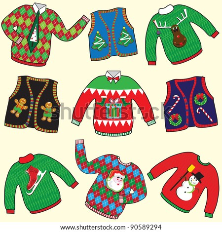 UGLY Christmas Sweaters Party Invitation Clip art