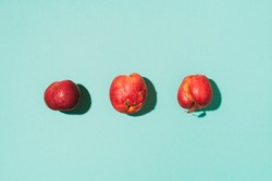 Ugly fruits concept. Organic red apples on blue background. The concept of ecology, not plastic. Healthy food. Copy space. Top view. Zero waste concept