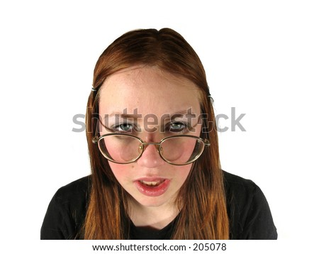 stock photo : ugly girl with glasses on white background