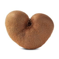 Ugly heart shaped kiwi fruit isolated on white. Organic misfit produce. Trendy strange food. Odd deformed harvest