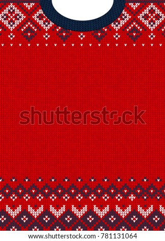 Ugly sweater Merry Christmas and Happy New Year greeting card template. illustration Handmade knitted background pattern with scandinavian ornaments. White, red, blue colors. Flat style