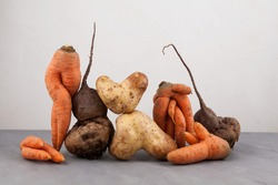 Ugly vegetables, side view, close-up. Concept - Food organic waste reduction. Using in cooking imperfect products.