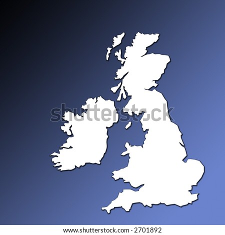 UK and Ireland map outline in white on graduated blue background