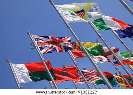 UK and world national flags is flying