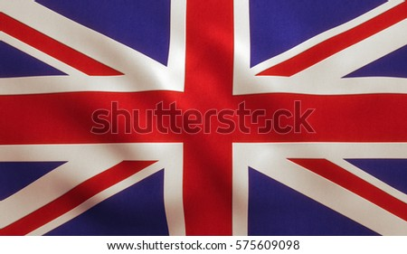 UK British flag background with cloth texture. #575609098
