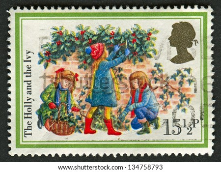 UK - CIRCA 1982: A stamp printed in UK shows image of The Holly and the Ivy, circa 1982.