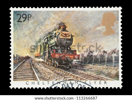 UK - CIRCA 1985: Mail stamp printed in the UK featuring the British built Cheltenham Flyer steam locomotive, circa 1985