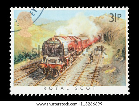 UK - CIRCA 1985: Mail stamp printed in the UK featuring the British built Royal Scot steam locomotive, circa 1985