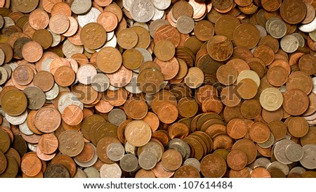 uk currency background with dirty coins