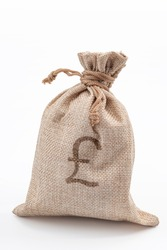 UK Currency, British Pounds and vintage bounty award concept with picture of linen bag of money with pound sterling sign printed on it isolated on white background with clipping path cutout