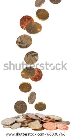 uk currency falling into a pile isolated on white