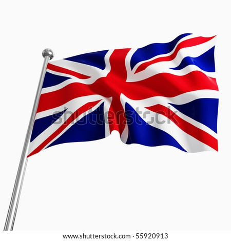 uk 3d flag on white background